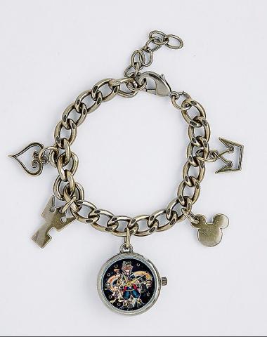 Kingdom Hearts Goldplated Charm Bracelet with Watch Charm