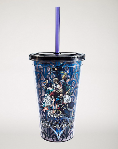 Kingdom Hearts 16 Oz. Cup with Straw And Ice Cubes 1
