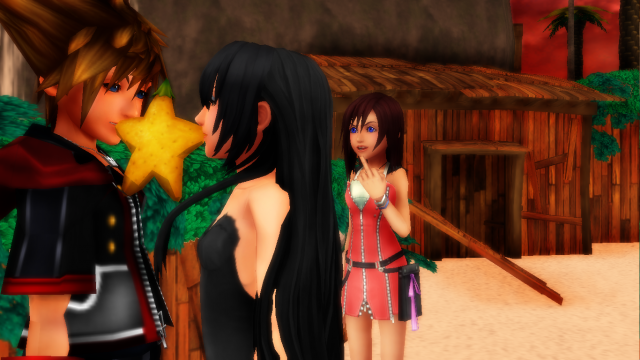 Me And sora share papou frutie And kairi give long finger