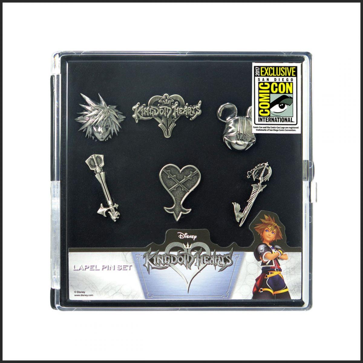 2017 San Diego Comic Con Exclusive - Kingdom Hearts Pewter Lapel Pins - 6 pc Set