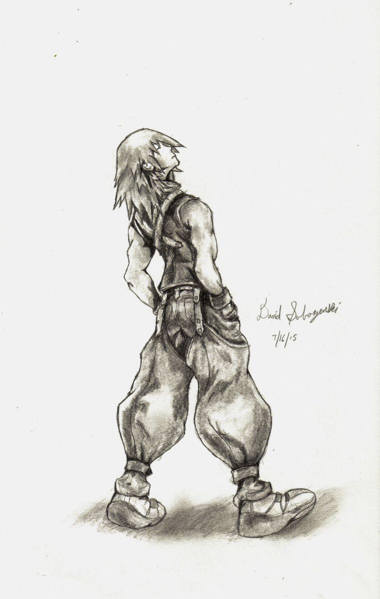 Riku Black & White Drawing - Chain of Memories