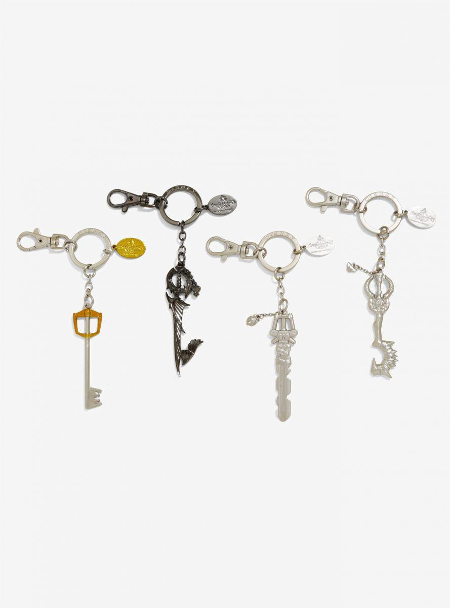 2017 San Diego Comic Con Exclusive Kingdom Hearts Pewter Key Rings - 4 pc Set