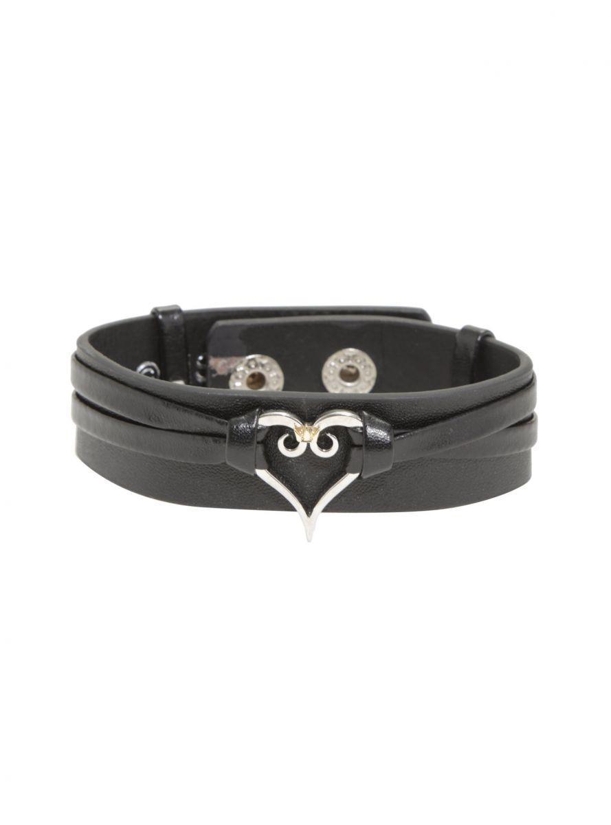 Kingdom Hearts Silver Heart black leather cuff 1