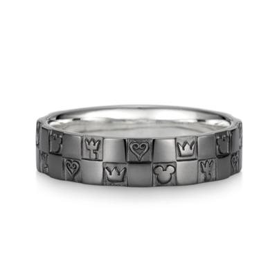 Monogram Ring Double K18 White Gold Black Coating