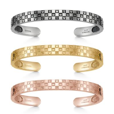 Monogram Bangle Triple Silver Ivishi Yellow Gold Coating Pink Gold Coating