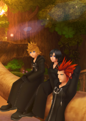 Axel, Roxas And Xion At Destiny Islands