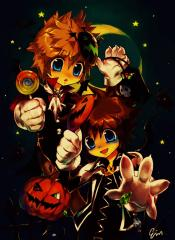 Sora And Roxas In Halloween Town