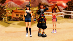 Me And sora walking And kairi Mad