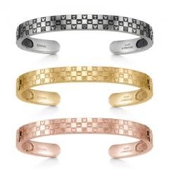 Monogram Bangle Triple Silver Ivishi Yellow Gold Coating Pink Gold Coating